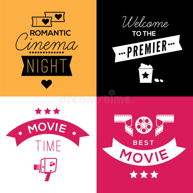 Download Cinema Compositions With Text Stock Vector - Illustration of industry, poster: 66474016