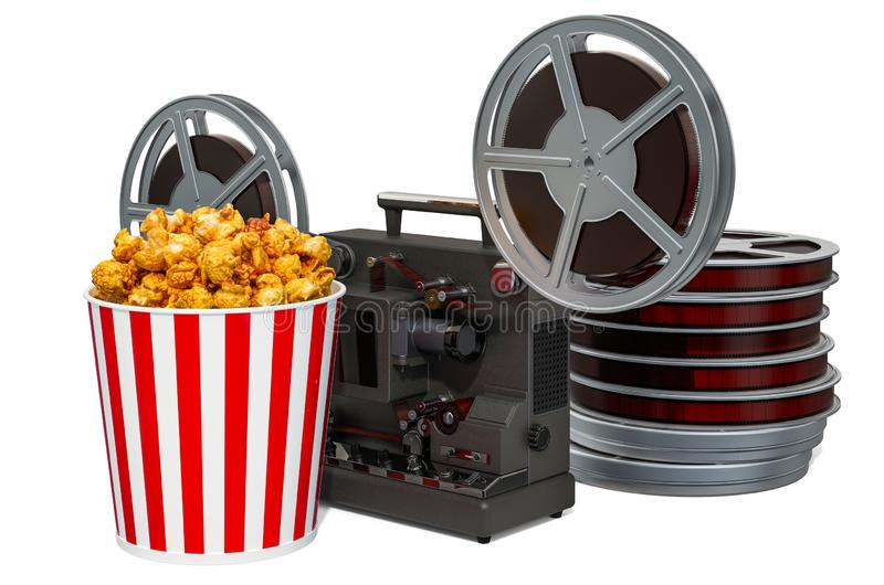 Cinema concept. Cinema projector and movie reels with popcorn container, 3D rendering royalty free illustration