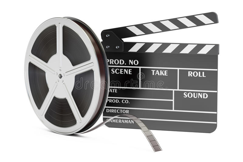 Cinema concept. Clapperboard with film reels, 3D rendering royalty free illustration