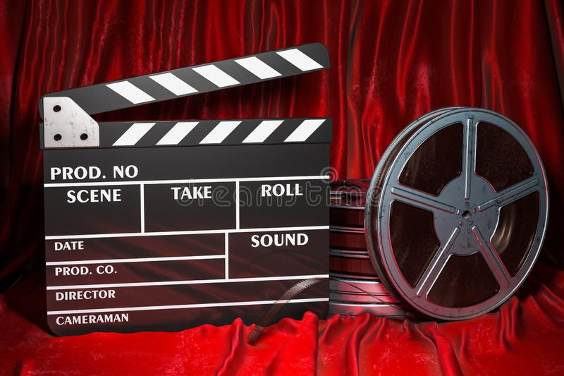 Cinema concept. Clapperboard with and film reels on the red fabric, 3D rendering vector illustration