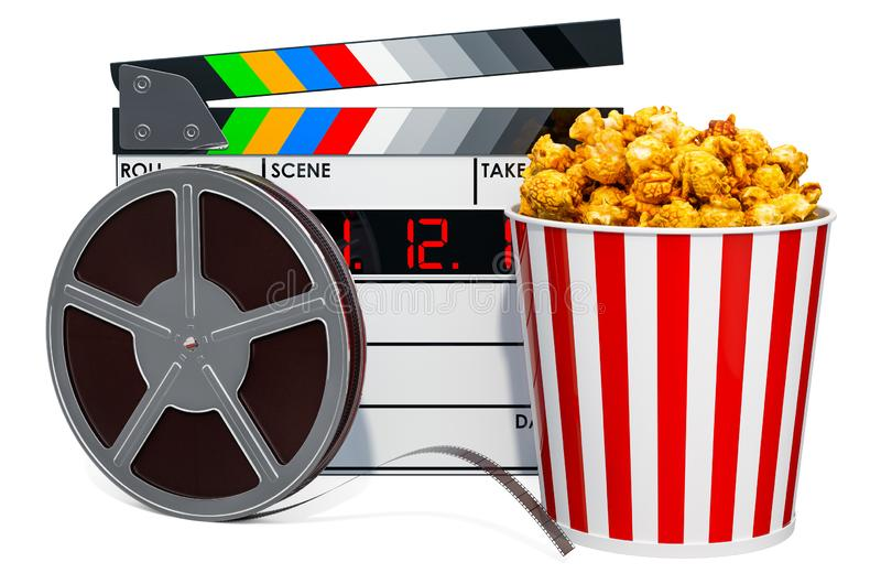 Cinema concept. Clapperboard and movie reels with popcorn container, 3D rendering vector illustration
