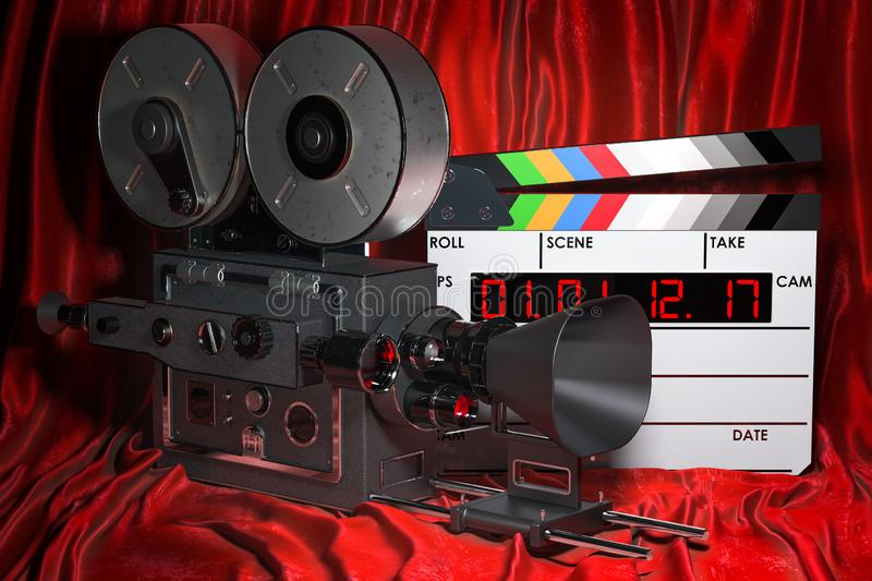 Cinema concept. Clapperboard with and retro movie camera on the red fabric, 3D rendering vector illustration