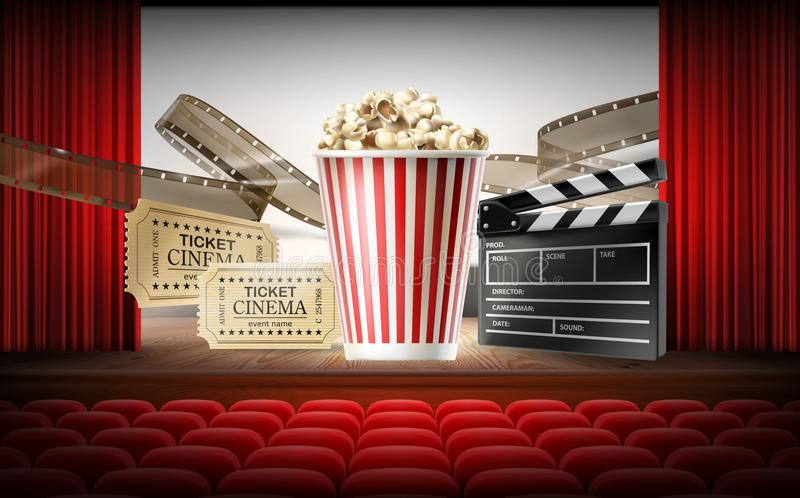 Cinema concept 3d vector illustration. With movie hall, rows of red seats, stage, curtain, white screen. Realistic objects of film industry in center box with vector illustration