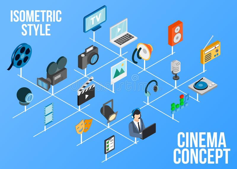 Cinema concept icons set, isometric style vector illustration