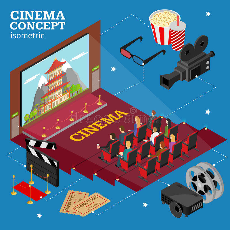 Cinema Concept Movie Interior Auditorium Isometric View. Vector stock illustration