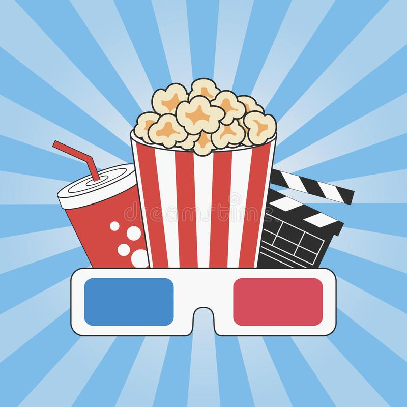 Cinema concept. Movie time. Poster design with popcorn, 3d glasses royalty free illustration