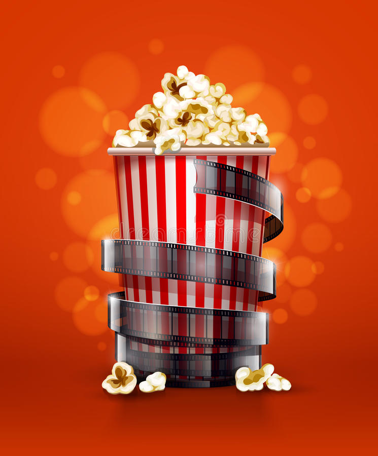 Cinema concept with paper bucket with popcorn and film tape. Cinema concept with paper bucket with popcorn and movie film tape. Eps10 illustration vector illustration