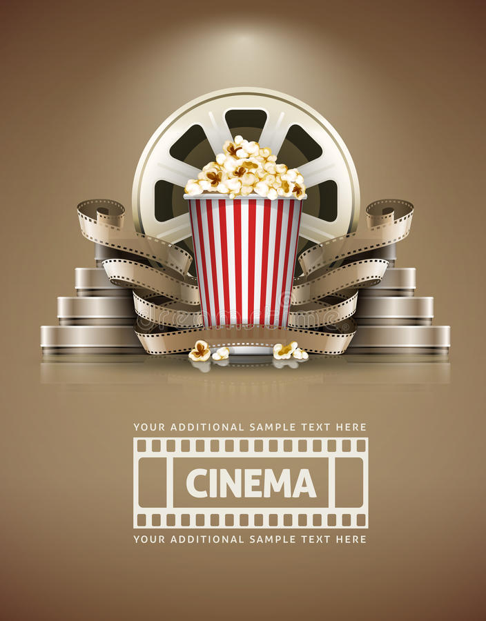 Cinema concept with popcorn and cinefilms retro style. Cinema concept with popcorn and cinefilmss retro style. Eps10 illustration stock illustration