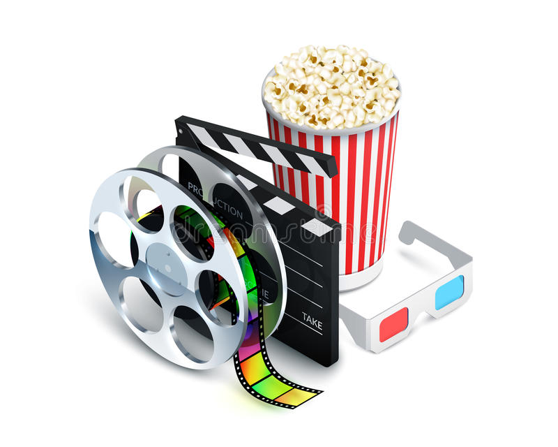 Cinema Concept Realistic. Cinema concept with movie theatre elements set of film reel clapperboard popcorn 3d glasses realistic vector illustration royalty free illustration