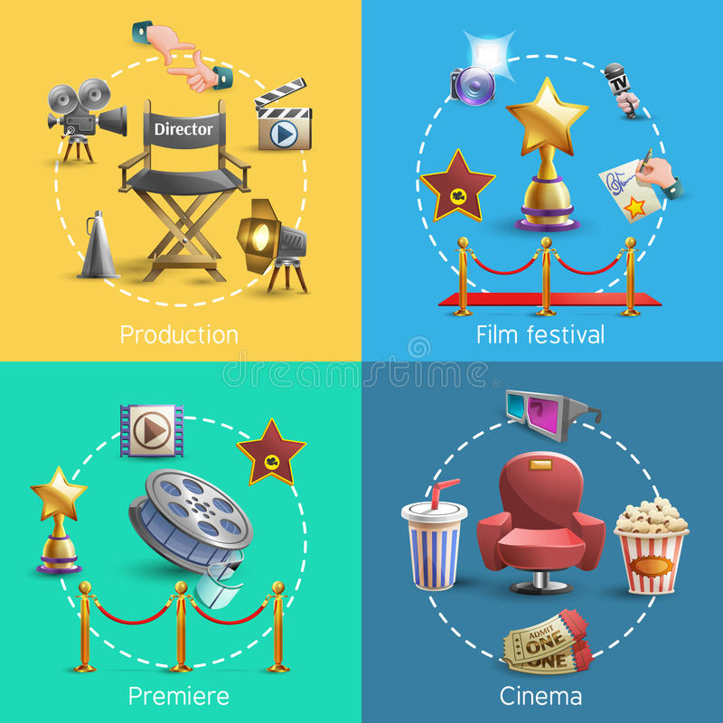 Cinema concept set. Cinema design concept set with cinema premiere icons isolated vector illustration stock illustration