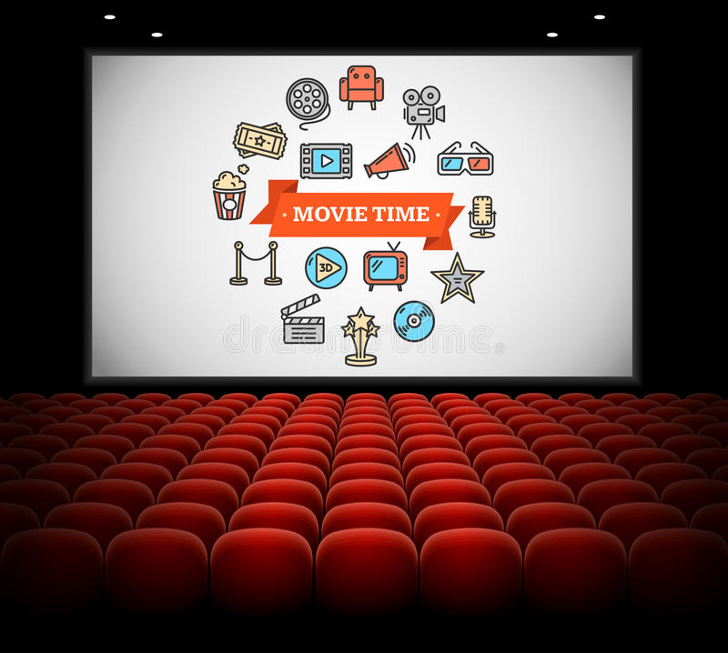 Cinema Concept. Vector. Cinema Concept. Movie time on Screen. Vector illustration vector illustration