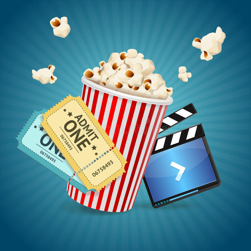 Cinema concept. Vector. Cinema concept. Poster template with film clapper, popcorn, tickets. Vector illustration stock illustration