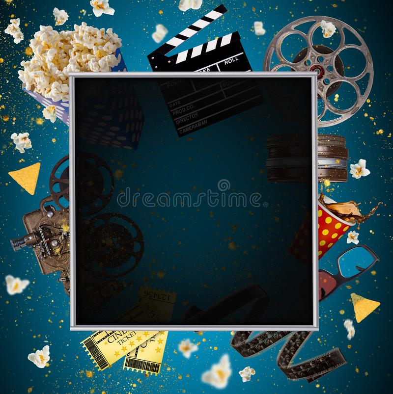 Cinema concept of vintage film reels, clapperboard and other tools. royalty free illustration