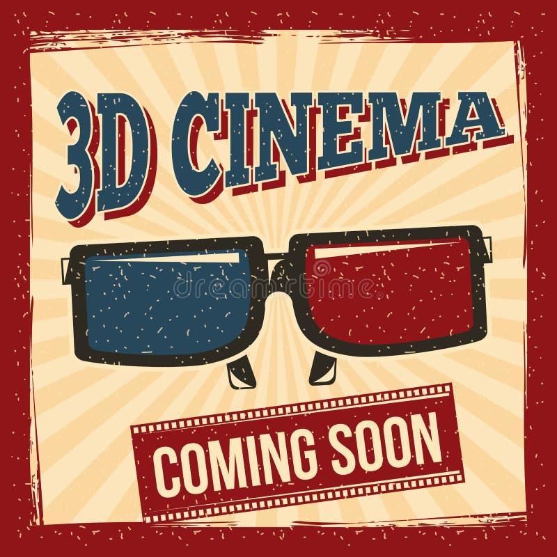 cinema 3d che viene presto stile del manifesto di vetro retro royalty illustrazione gratis