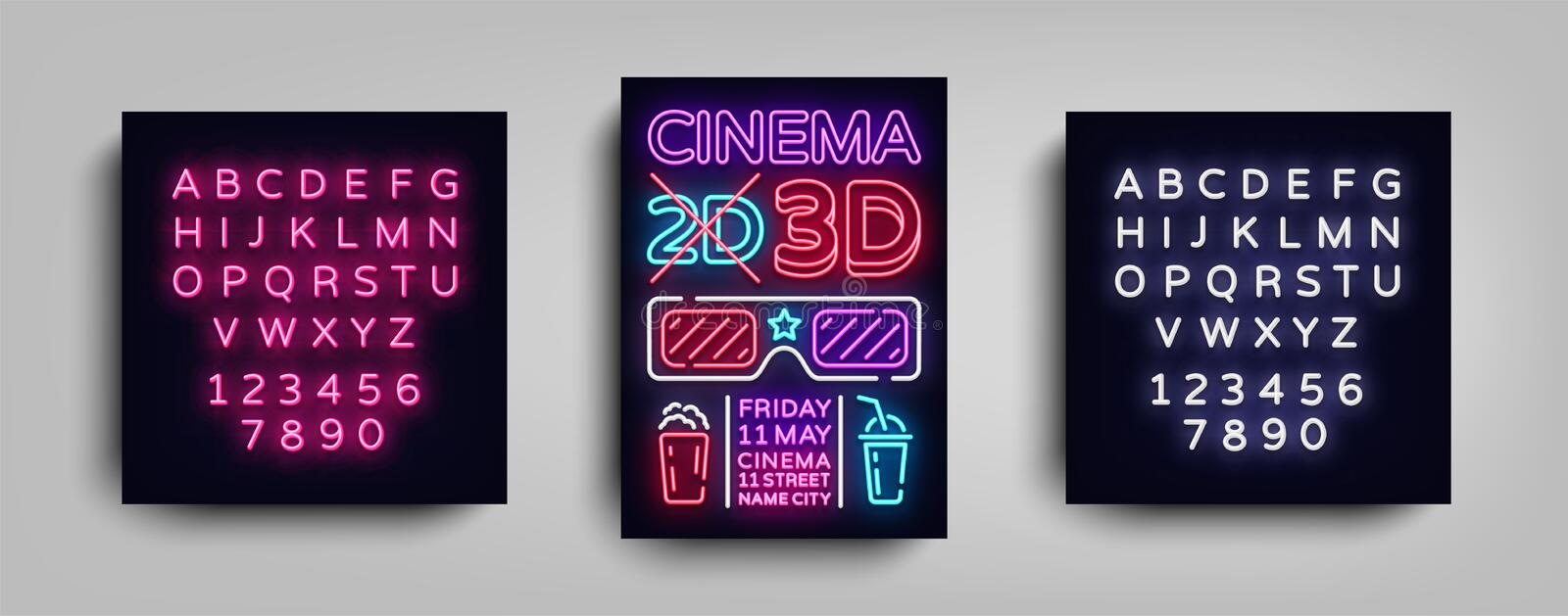 Cinema 3d poster design template neon style. Neon Sign, Light Banner, Bright Flyer, Design Postcard, Promotional vector illustration