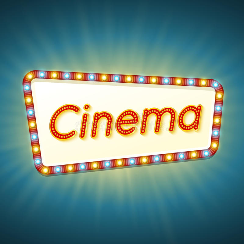 Cinema. 3d retro light banner with shining bulbs. Red frame with blue and yellow lights and text cinema on bright background. stock illustration