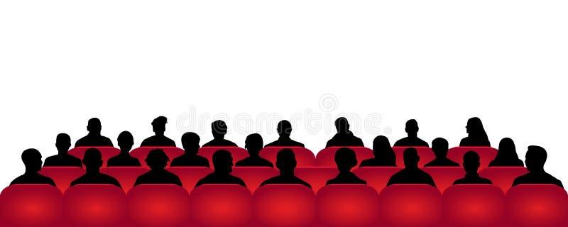 Cinema da audiência, teatro Multidão de povos no auditório, vetor da silhueta, espectadores ilustração do vetor