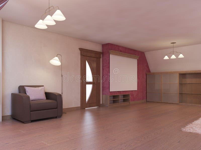 Cinema da casa no sótão em um estilo moderno em Borgonha e nas cores brancas ilustração royalty free