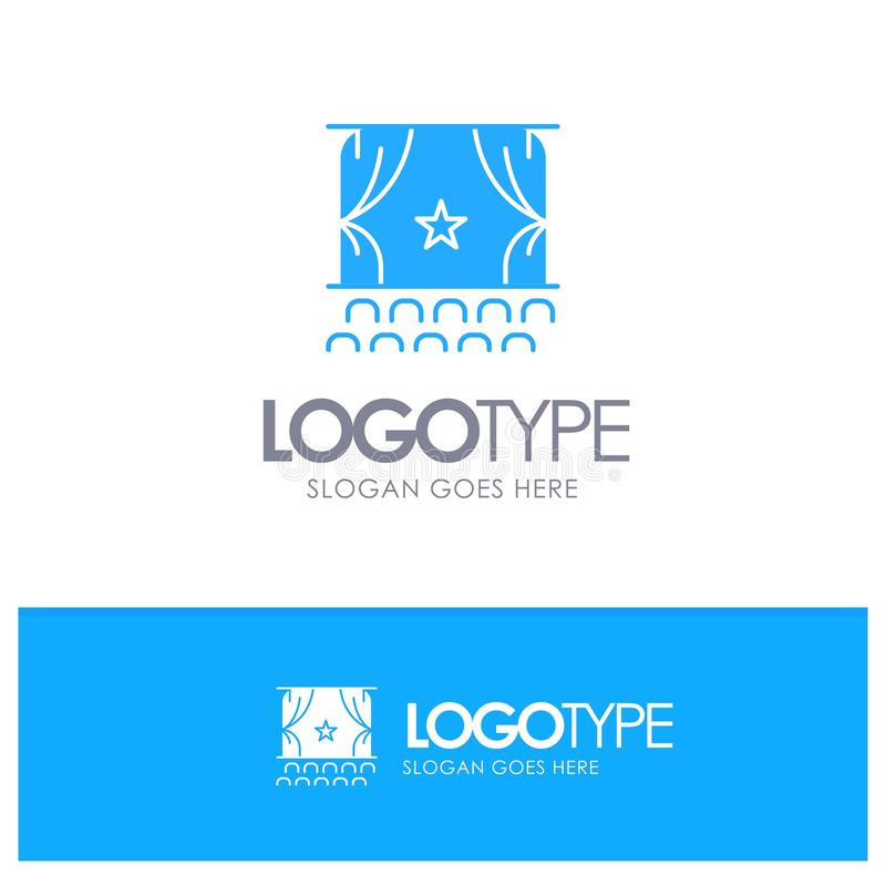 Cinema, Debut, Film, Performance, Premiere Blue Solid Logo with place for tagline stock illustration