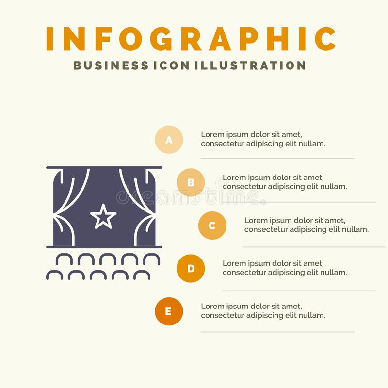 Cinema, Debut, Film, Performance, Premiere Solid Icon Infographics 5 Steps Presentation Background vector illustration