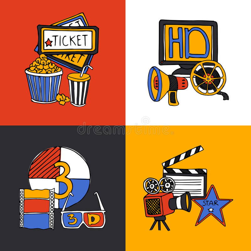 Cinema design concept flat icons set. Cinema retro film house tickets 3d glasses with movie projector four flat icons composition abstract vector illustration stock illustration