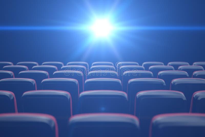 Cinema di concetto, colore blu brillante nel cinema File delle sedie con i posti vuoti illustrazione 3D illustrazione vettoriale