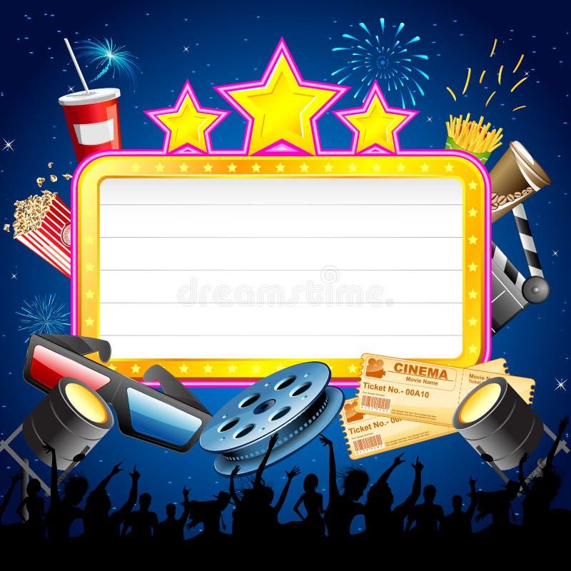Cinema Display Board with Cheering Crowd vector illustration