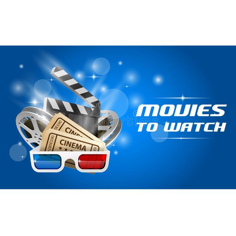Cinema e filme - cartaz da premier de filme, placa de válvula, filme ilustração stock