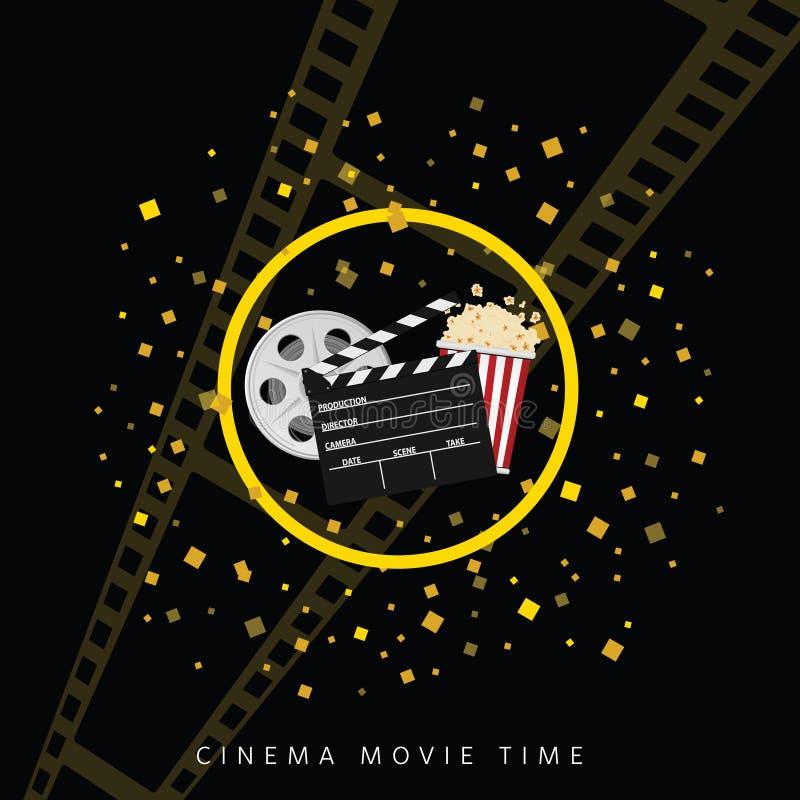 Cinema e fundo dois do preto do tempo de filme ilustração do vetor