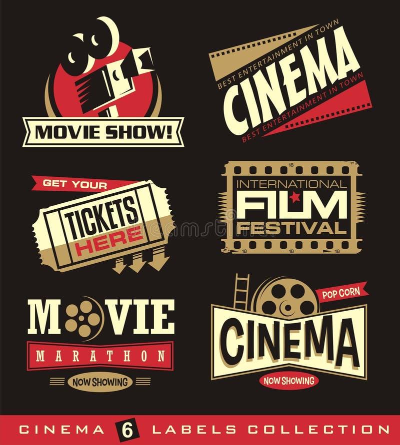 Cinema e grupo de filmes de etiquetas, de emblemas, de bandeiras e de elementos do projeto ilustração do vetor