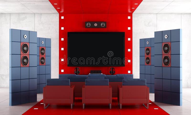 Cinema em casa contemporâneo vermelho e azul ilustração stock