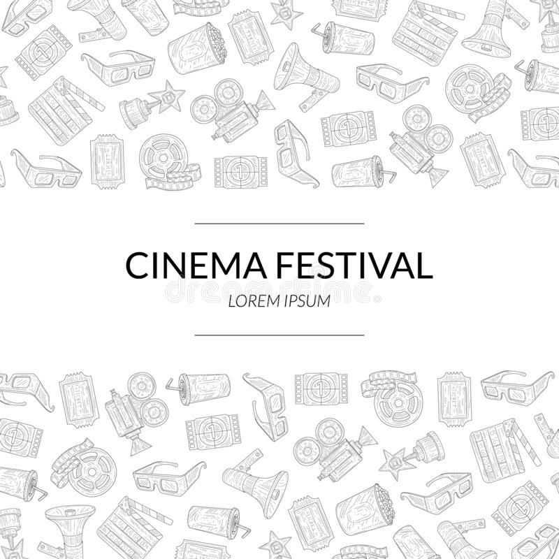 Cinema Festival Banner Template with Place for Text and Movie Production Symbols Hand Drawn Pattern Vector Illustration stock illustration