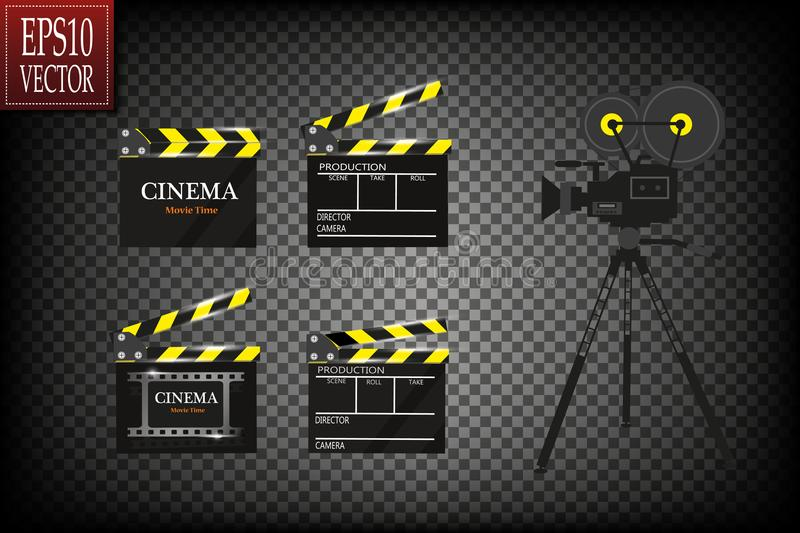 Cinema festival Flyer Or Poster With Movie Reel And Clapper Board. Vector Illustration Of Film Industry. Template For. Your Design Eps 10 stock illustration