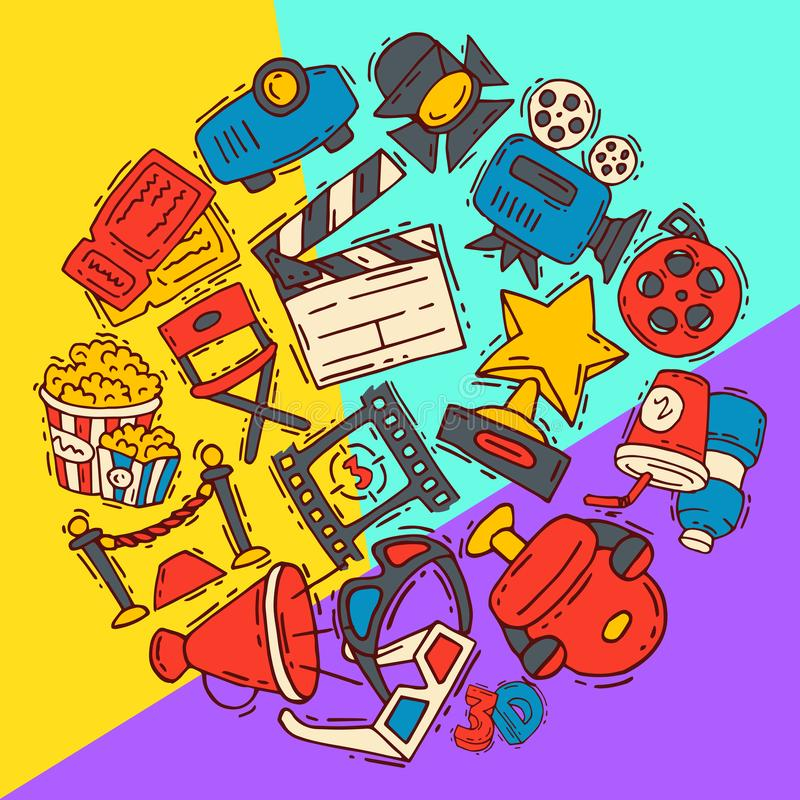 Cinema festival icons poster flyer media production background vector. Sale ticket banner. Movie time and entertainment stock illustration