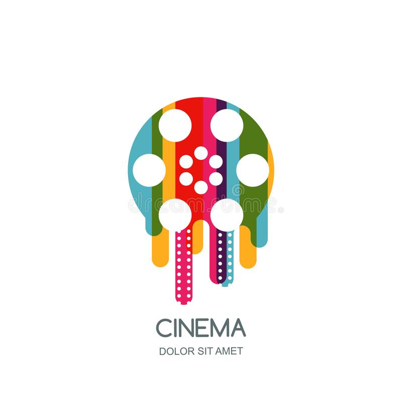 Cinema festival logo, icon, emblem design template. Colorful liquid film reel and filmstrip. Movie time concept. Cinema festival logo, icon, emblem design stock illustration
