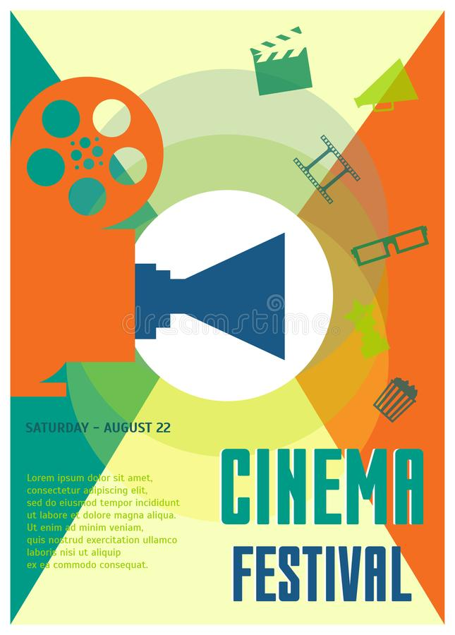 Cinema Festival Placard, Poster or Flyer Template Set. Vector. Cinema Festival Placard, Poster or Flyer Template Design Set Cinematography Concept Include of royalty free illustration