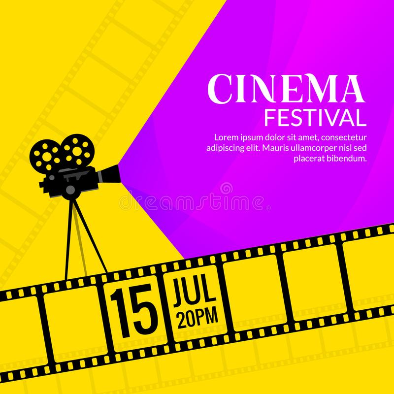 Cinema festival poster template. Film or movie flyer festival design background stock illustration
