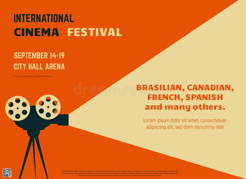Cinema festival retro poster. Retro style international movie festival poster template. Orange background and black colors. Film festival poster. Movie theater stock illustration