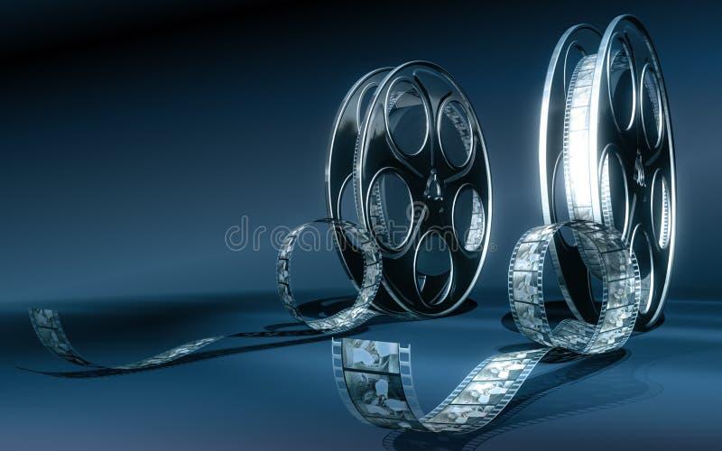 Cinema film. Reels (cold colors