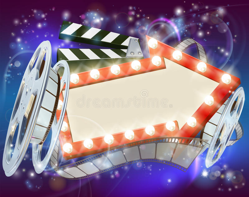 Cinema Film Arrow Sign Abstract Background. Abstract movie cinema film sign with light bulbs arrow sign clapperboard and film reel vector illustration