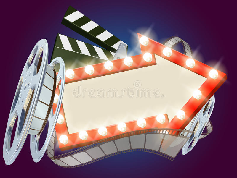 Cinema Film Arrow Sign Background. Movie cinema film sign with light bulbs arrow sign clapperboard and film reel royalty free illustration