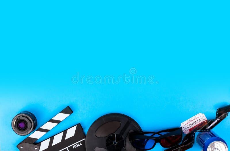 Cinema Film Blue Background stock photos