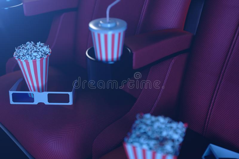 Cinema film concpet with popcorn, 3d glasses, popcorn and cup with a drink. Cinema concept wtih blue light. Red chairs. In the cinema hall, 3D illustration stock illustration