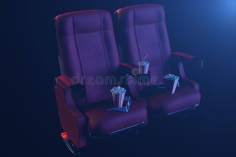 Cinema film concpet with popcorn, 3d glasses, popcorn and cup with a drink. Cinema concept wtih blue light. Red chairs. In the cinema hall. 3D illustration royalty free illustration