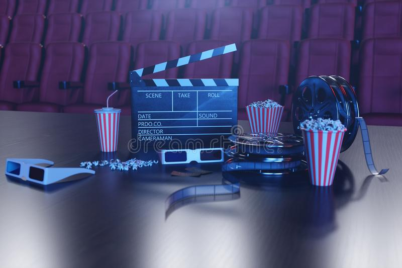 Cinema film concpet with popcorn, 3d glasses, filmstrip, clapperboard movie reel and two tickets. Cinema concept wtih. Blue light. Red chairs in the cinema hall stock illustration
