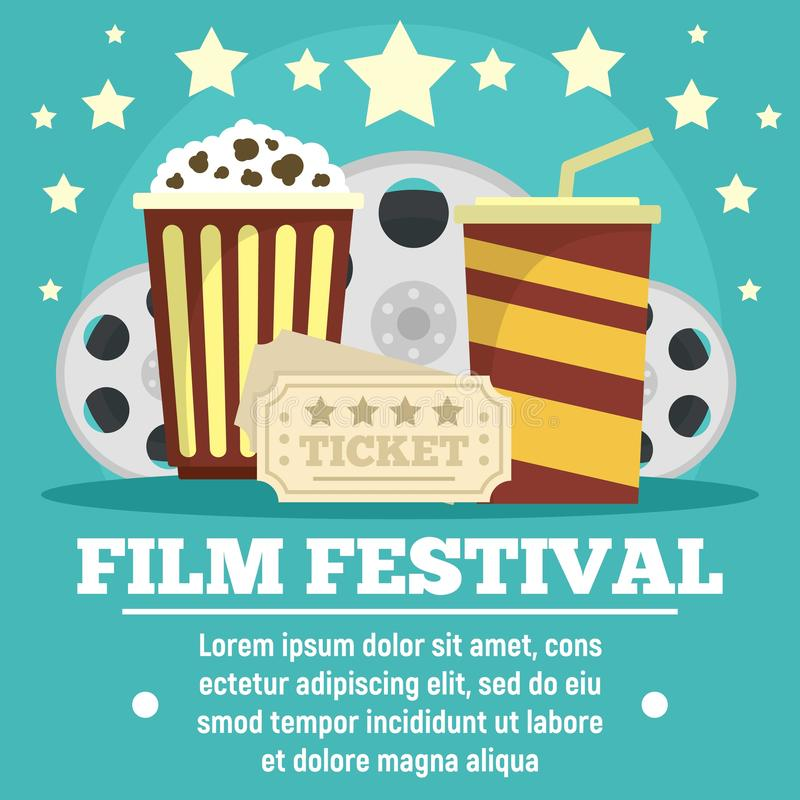 Cinema film festival concept banner, flat style. Cinema film festival concept banner. Flat illustration of cinema film festival vector concept banner for web vector illustration