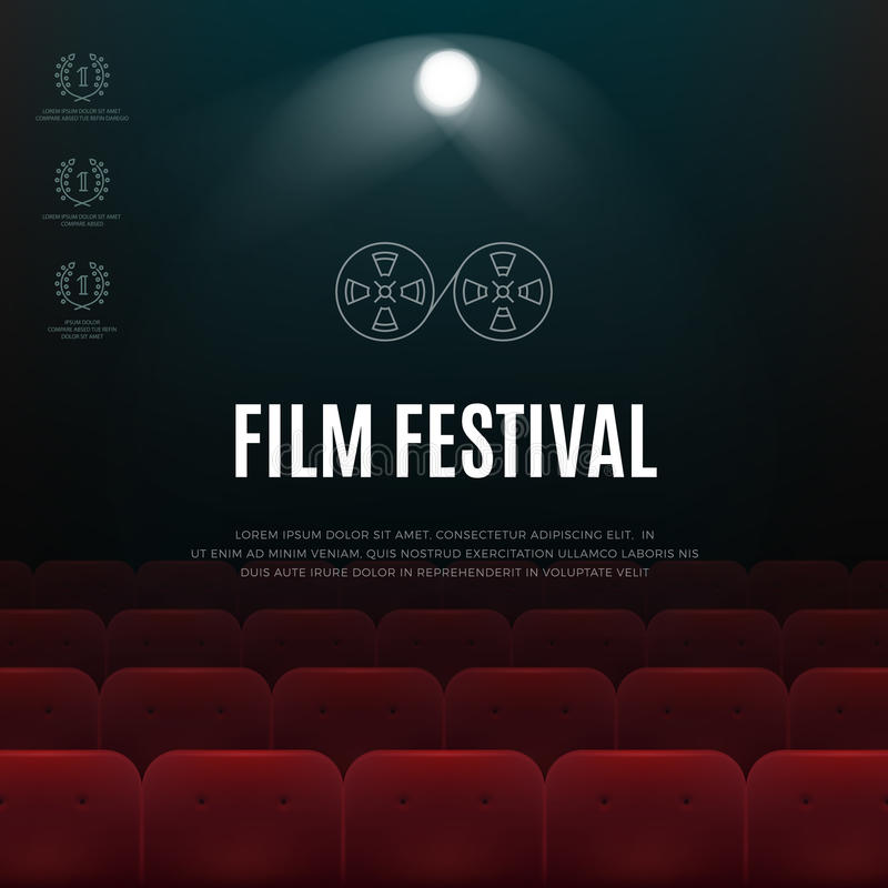 Cinema, film festival vector abstract poster, background vector illustration