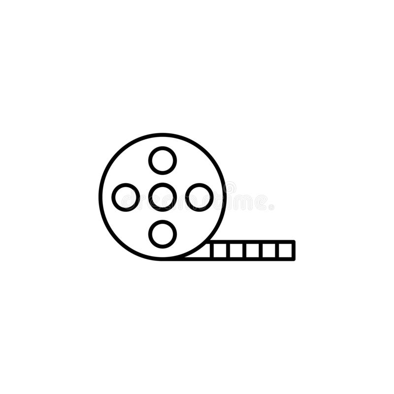 Cinema film icon. Element of video products outline icon for mobile concept and web apps. Thin line cinema film icon can be used. For web and mobile on white royalty free illustration