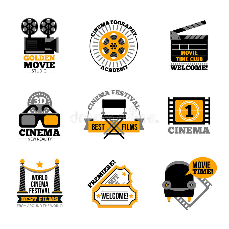 Cinema And Film Labels. With director chair 3d glasses cinema tickets projector flat signs vector illustration vector illustration