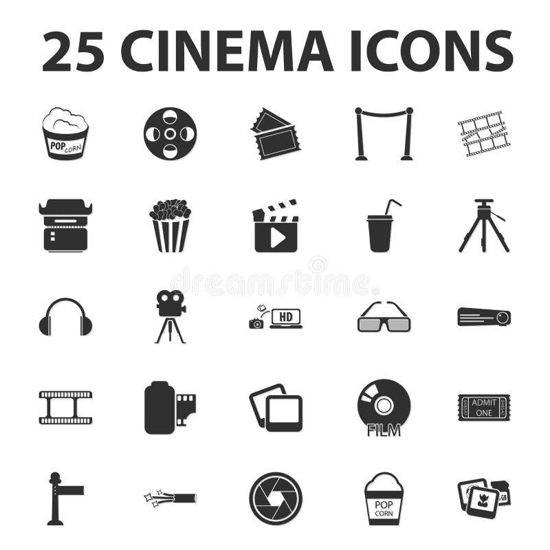 Cinema, film, media 25 black simple icons set for web. Design stock illustration